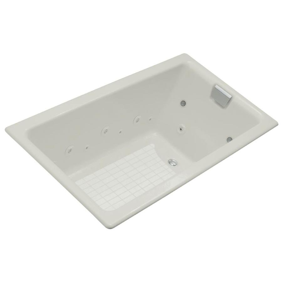 KOHLER Tea-For-Two 2-Person Ice Grey Cast Iron Rectangular Whirlpool Tub (Common: 36-in x 66-in; Actual: 24-in x 36-in x 66-in)