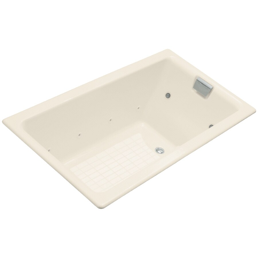 KOHLER Tea-For-Two 66-in Almond Cast Iron Drop-In Whirlpool Tub with Reversible Drain