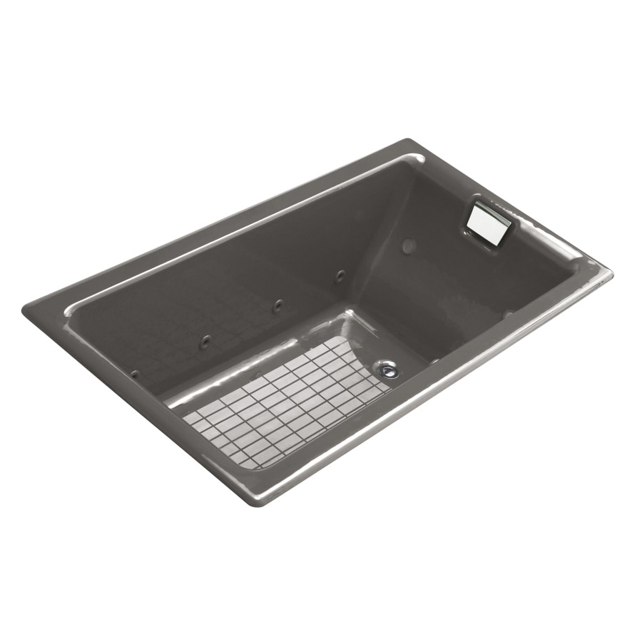 KOHLER Tea-For-Two 66-in Thunder Grey Cast Iron Drop-In Whirlpool Tub with Reversible Drain