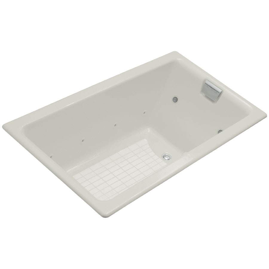 KOHLER Tea-For-Two 66-in Ice Grey Cast Iron Drop-In Whirlpool Tub with Reversible Drain