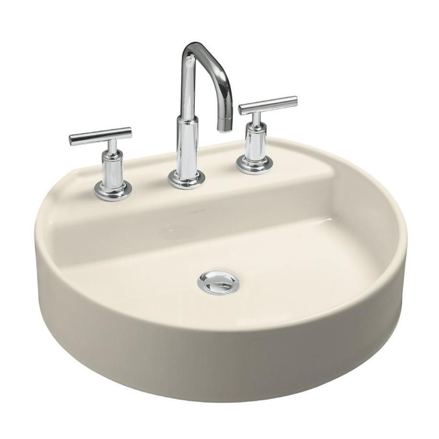 Shop Kohler Chord Almond Vessel Oval Bathroom Sink At