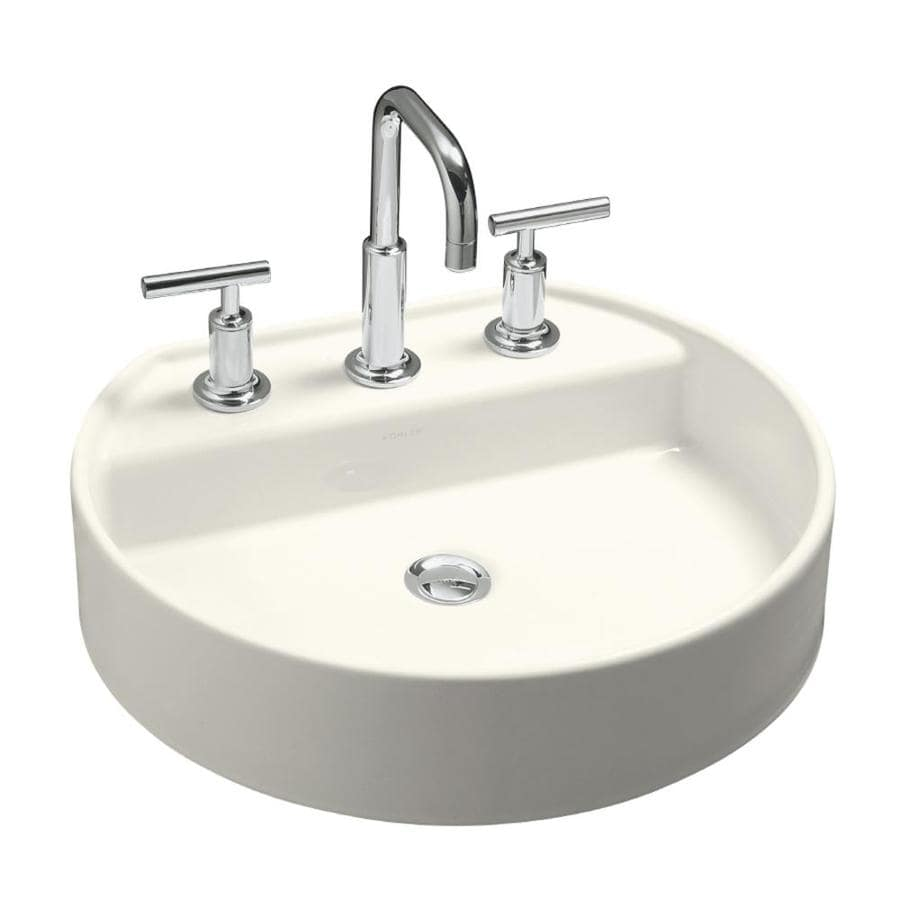kohler bathroom sinks shop kohler chord biscuit drop in oval bathroom sink at 13384