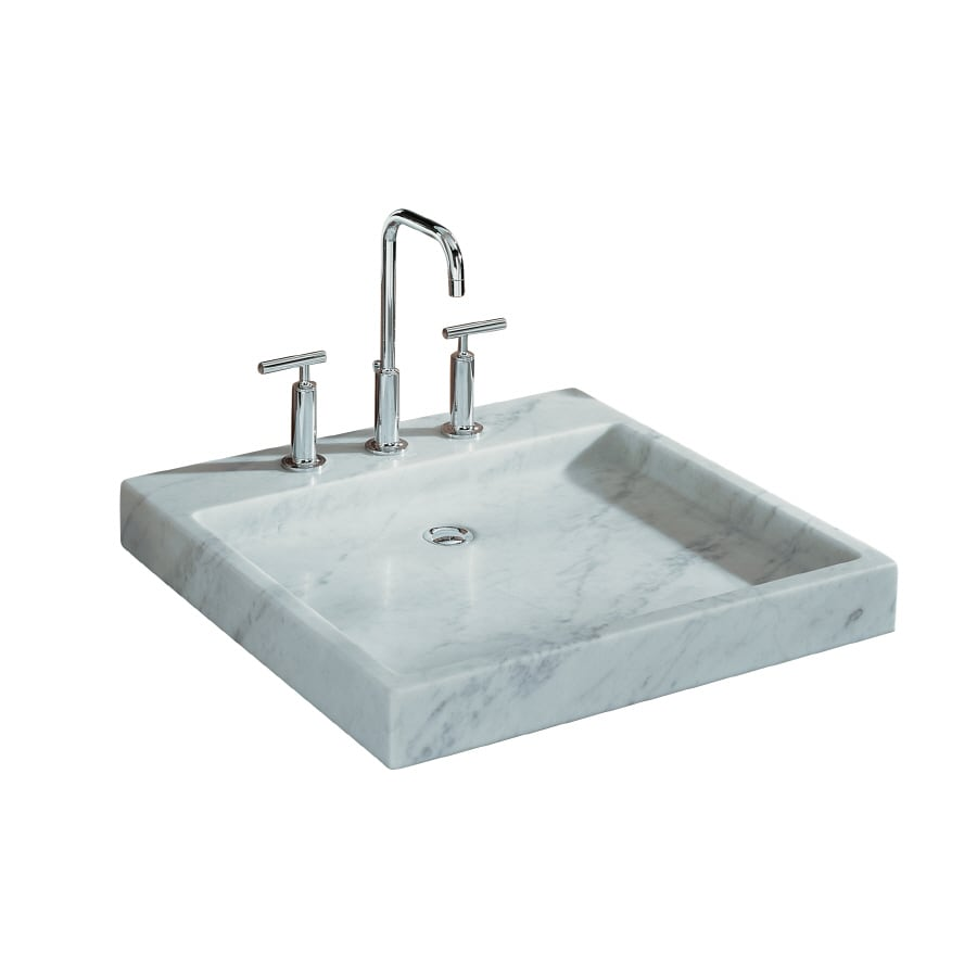 ... Edition Purist White Carrara Marble Marble Vessel Square Bathroom Sink