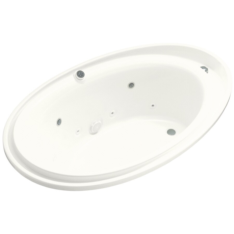 KOHLER Purist 72-in White Acrylic Drop-In Whirlpool Tub with Reversible Drain