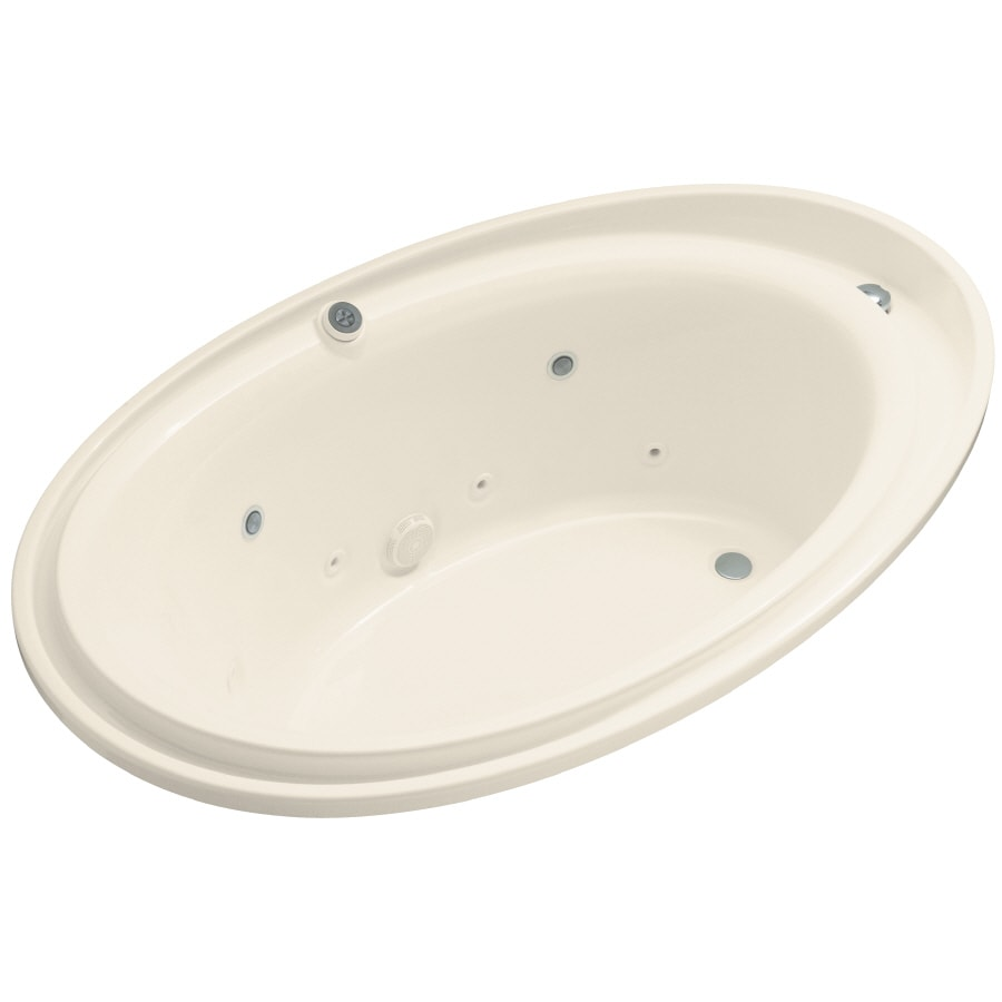 KOHLER Purist 72-in Almond Acrylic Drop-In Whirlpool Tub with Reversible Drain