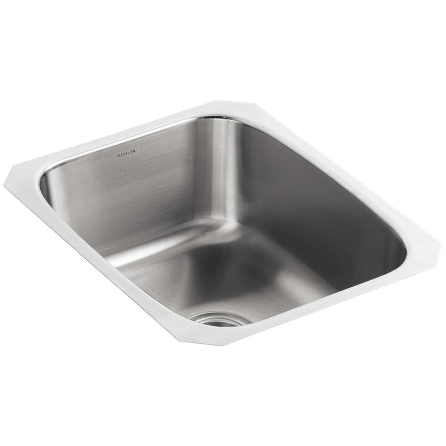 KOHLER Undertone 17.75-in x 31.5-in Stainless Steel Single-Basin Undermount Residential Kitchen Sink