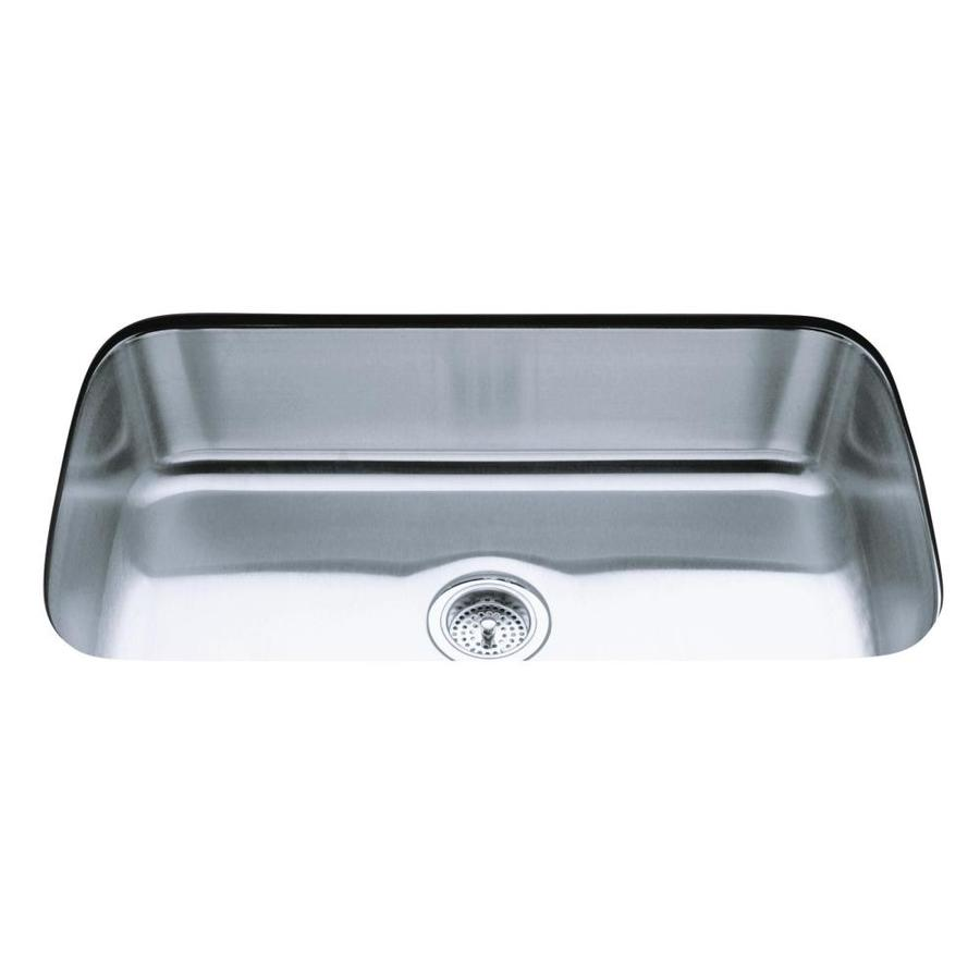 Shop KOHLER Undertone 31.5-in x 17.75-in Stainless steel Single ...