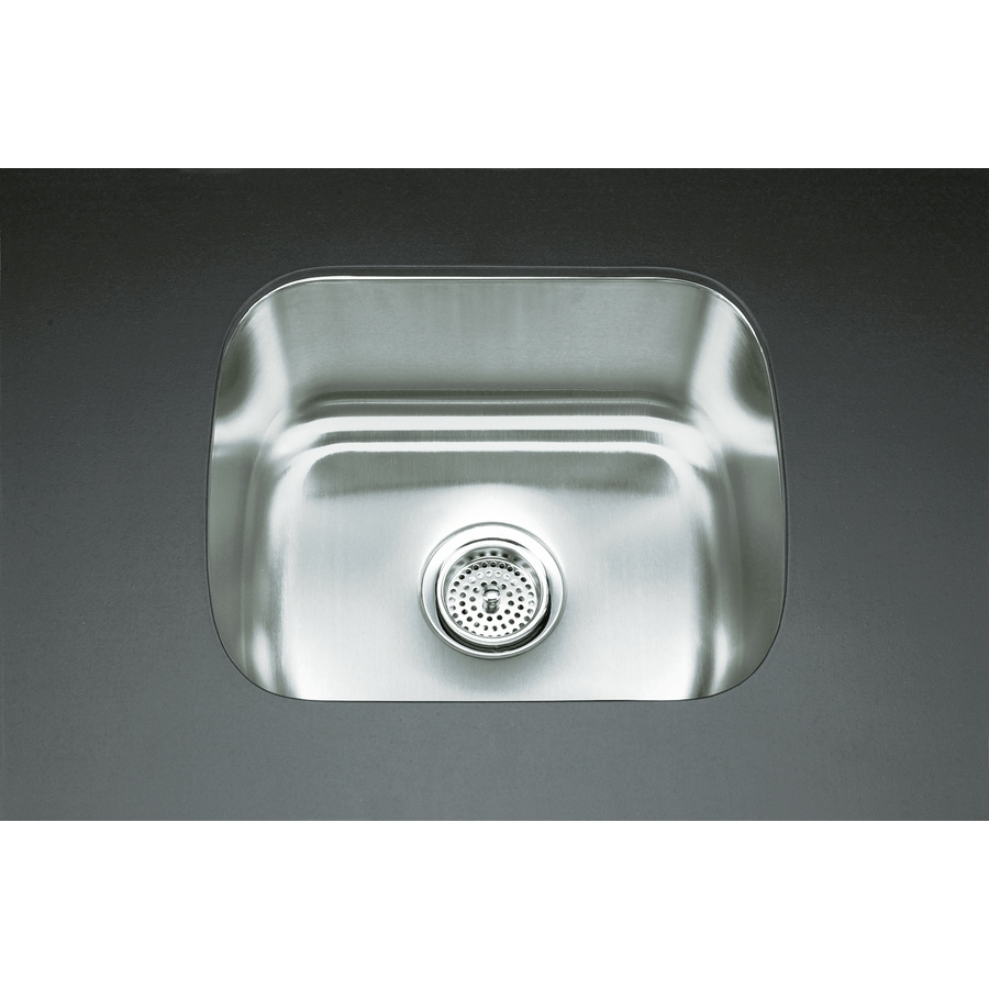 KOHLER Undertone 15.75-in x 18.5-in Stainless Steel Single-Basin Stainless Steel Undermount Residential Kitchen Sink