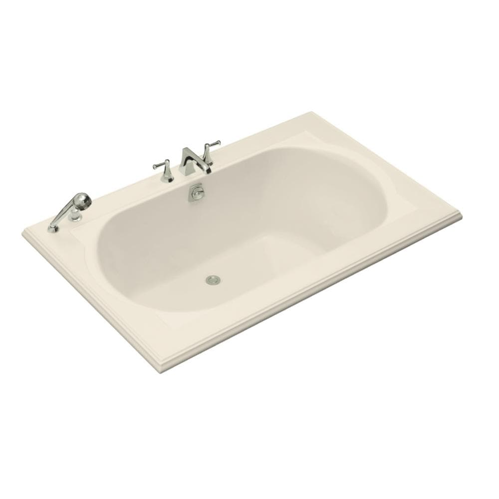 KOHLER Memoirs 66-in Almond Acrylic Drop-In Bathtub with Center Drain