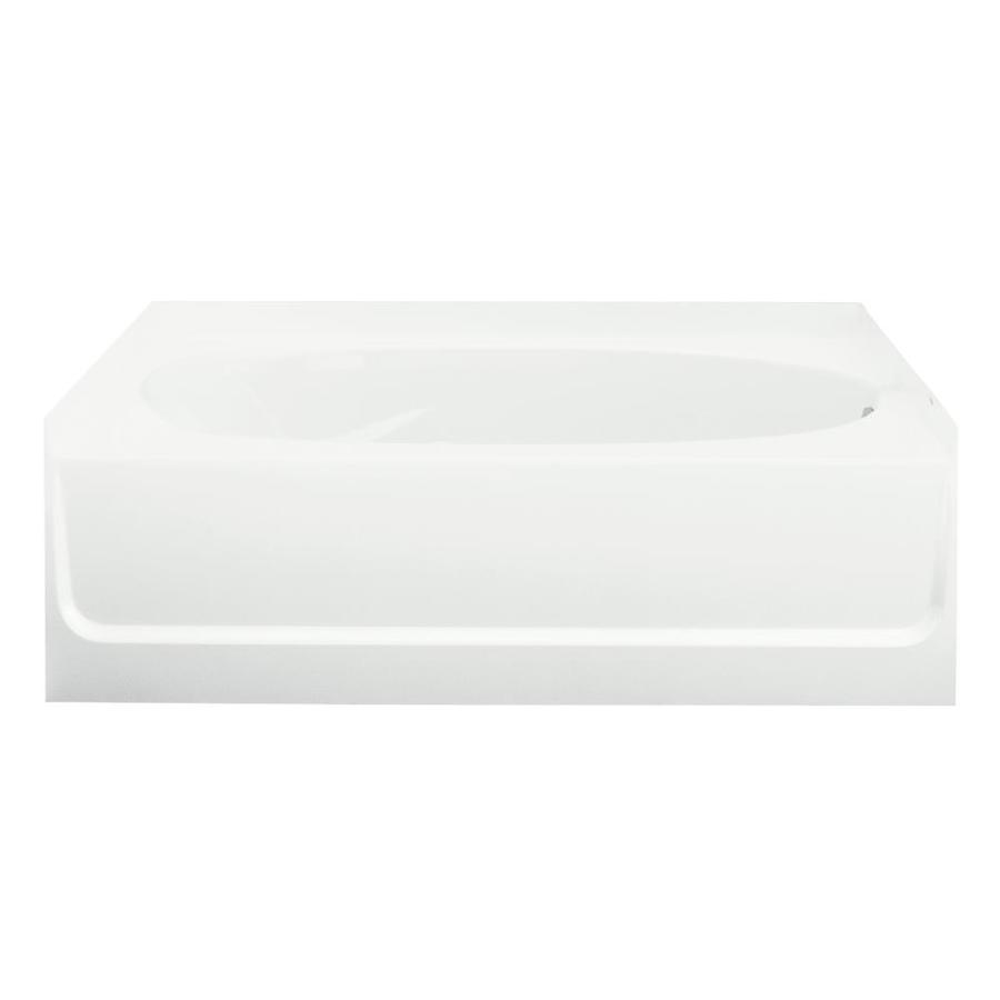Sterling Ensemble White Fiberglass and Plastic Composite Oval In Rectangle Skirted Bathtub with Right-Hand Drain (Common: 42-in x 60-in; Actual: 18.25-in x 42-in x 60.25-in)