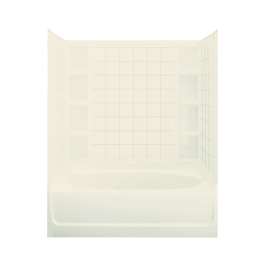 Sterling Ensemble Biscuit Fiberglass and Plastic Composite Oval In Rectangle Skirted Bathtub with Left-Hand Drain (Common: 36-in x 60-in; Actual: 72-in x 36-in x 60.25-in)