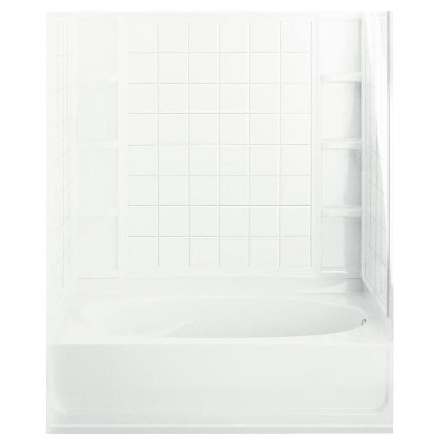 Sterling Ensemble White Fiberglass and Plastic Composite Oval In Rectangle Skirted Bathtub with Right-Hand Drain (Common: 36-in x 60-in; Actual: 72-in x 36-in x 60.25-in)