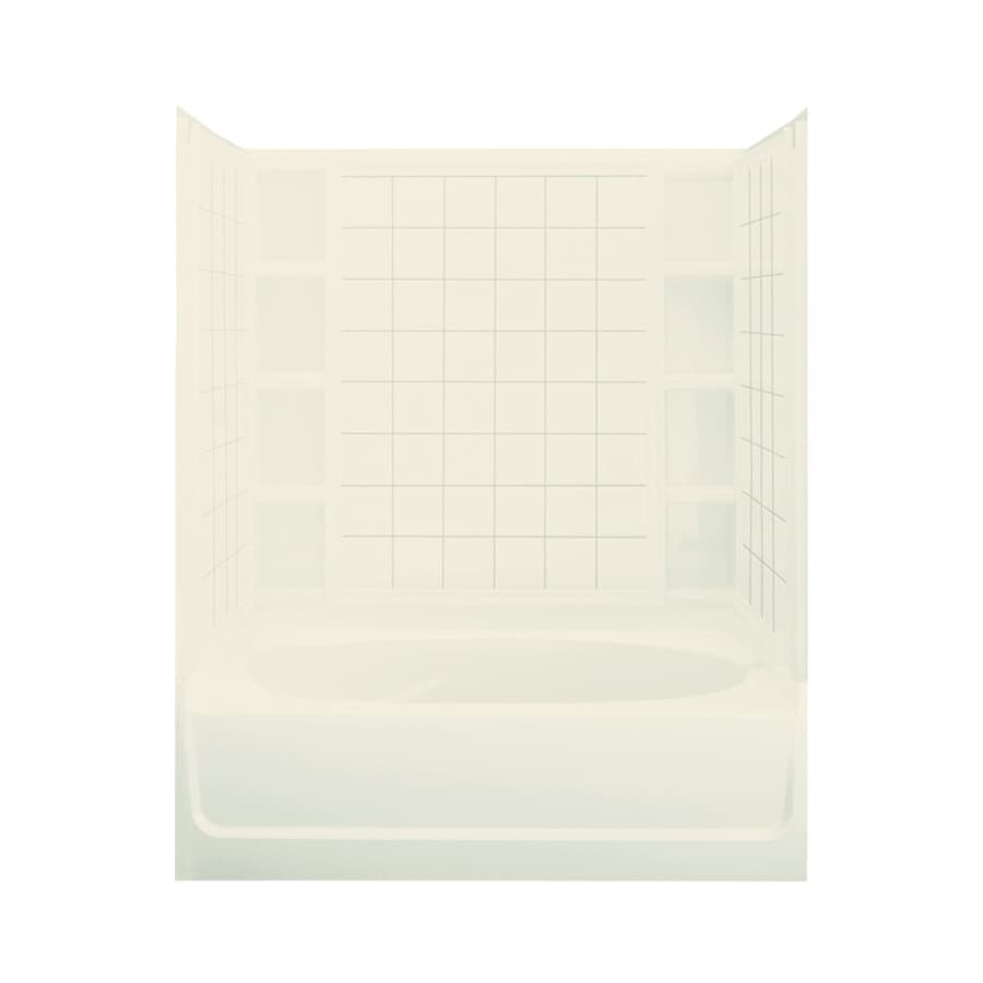 Sterling Ensemble Biscuit Fiberglass and Plastic Composite Oval In Rectangle Skirted Bathtub with Left-Hand Drain (Common: 42-in x 60-in; Actual: 74.25-in x 42-in x 60.25-in)