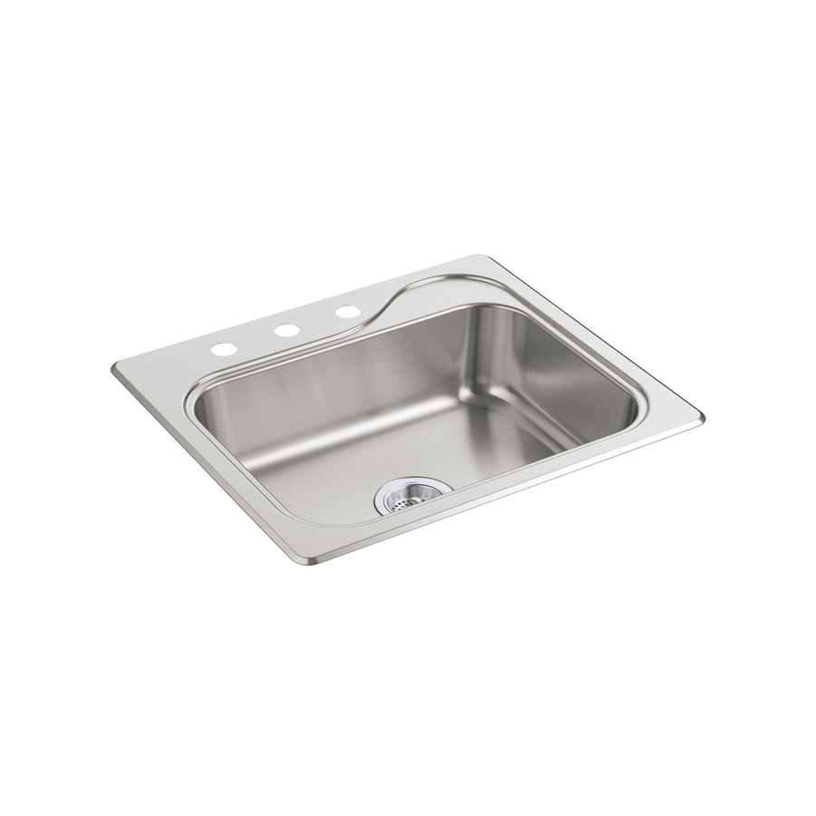 Sterling Southhaven 22.0000-in x 25.0000-in Satin Single-Basin Stainless Steel Drop-in 3-Hole Residential Kitchen Sink