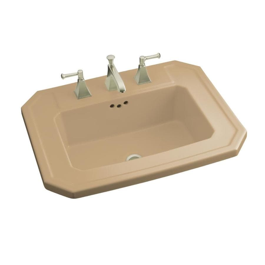 KOHLER Kathryn Mexican Sand Drop-in Rectangular Bathroom Sink with Overflow