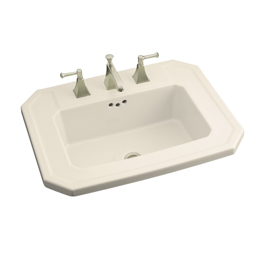 KOHLER Kathryn Almond Drop-in Rectangular Bathroom Sink with Overflow