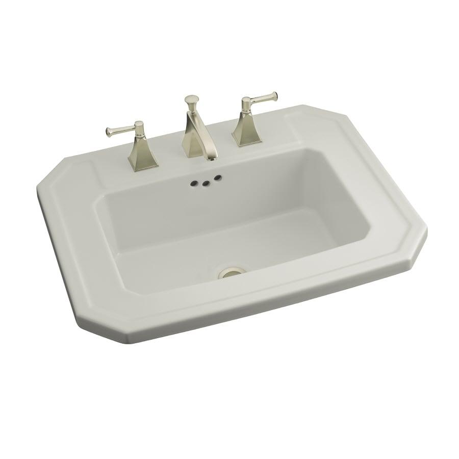 KOHLER Kathryn Ice Grey Drop-in Rectangular Bathroom Sink with Overflow