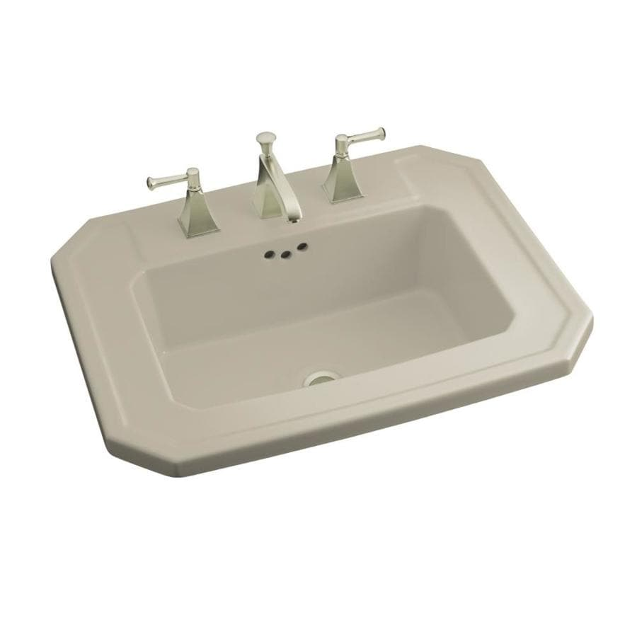 Shop Kohler Kathryn Sandbar Drop In Rectangular Bathroom Sink With Overflow At