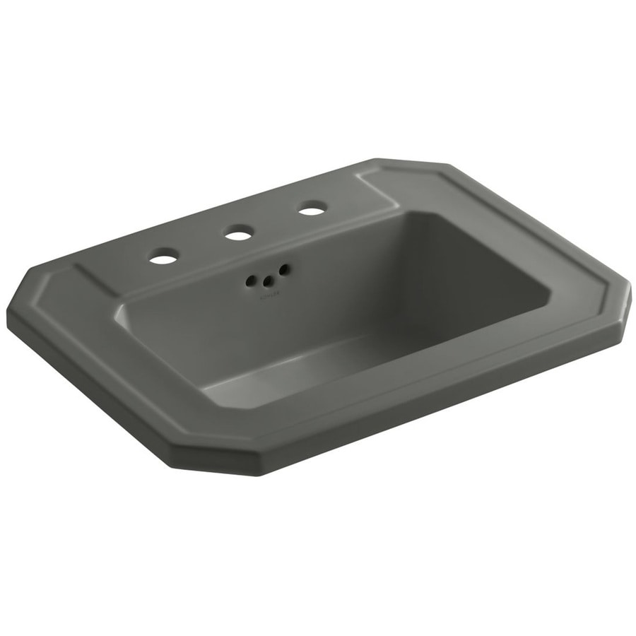KOHLER Kathryn Thunder Grey Drop-in Rectangular Bathroom Sink with Overflow