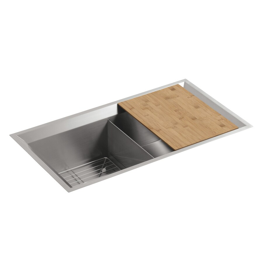 KOHLER Poise 18-in x 33-in Stainless Steel Double-Basin Undermount Residential Kitchen Sink