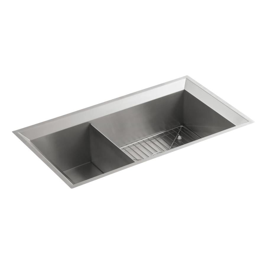 KOHLER Poise 18.0000-in x 33.0000-in Double-Basin Stainless Steel Undermount Residential Kitchen Sink