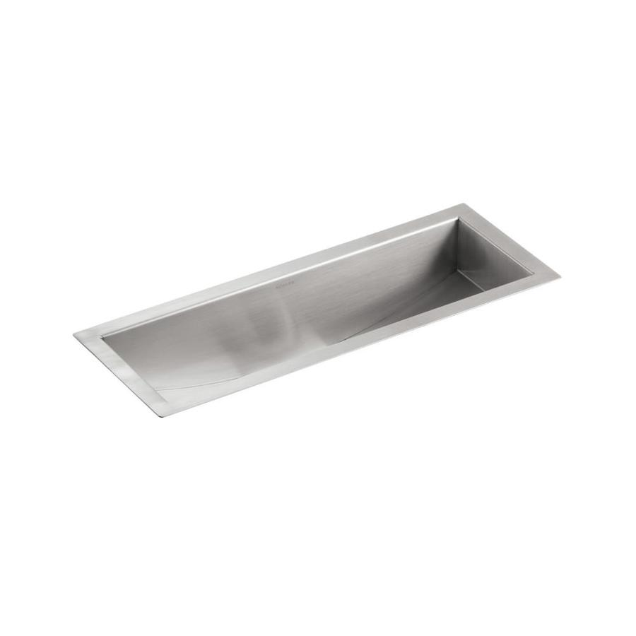 KOHLER Undertone 8.25-in x 22-in Single-Basin Stainless Steel Undermount Residential Kitchen Sink Drainboard Included