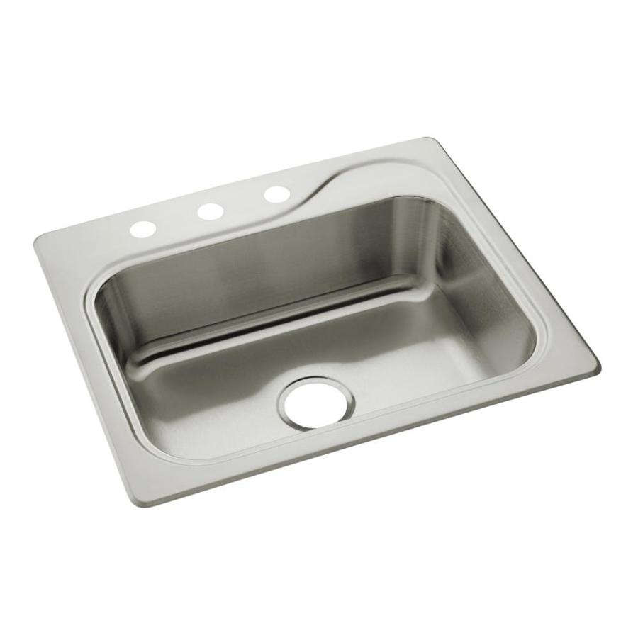 Sterling Southhaven 22-in x 25-in Satin Single-Basin Stainless Steel Drop-In 3-Hole Residential Kitchen Sink
