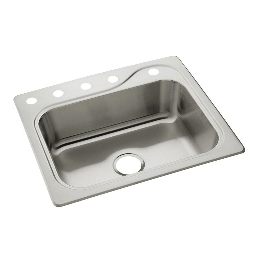 Sterling Stainless Steel 5 Hole Single Basin Topmount Kitchen Sink