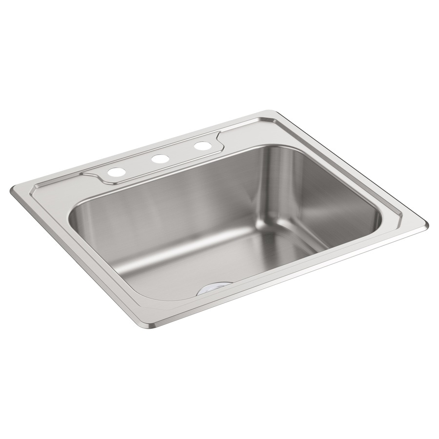 Sterling Middleton 22-in x 25-in Satin Single-Basin Stainless Steel Drop-In 3-Hole Residential Kitchen Sink