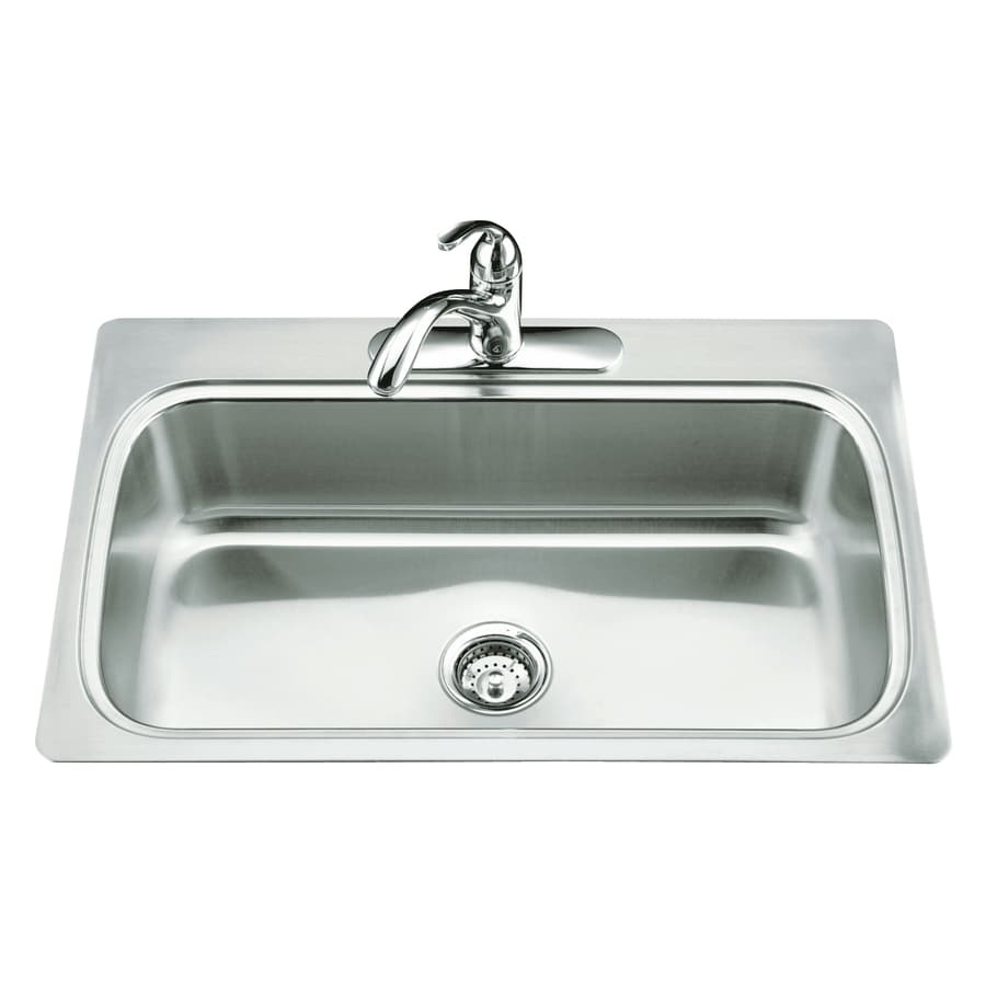 kohler single basin kitchen sink shop kohler verse 22 in x 33 in stainless steel single 8821