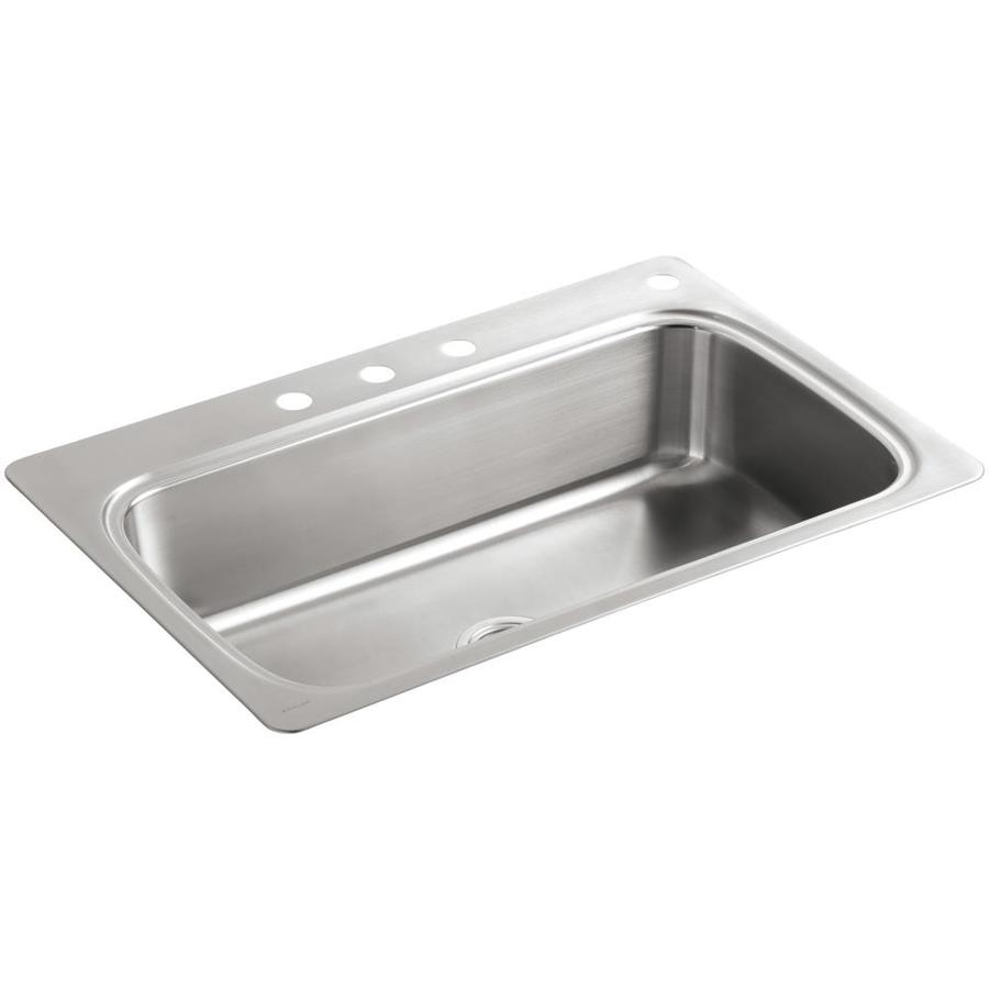 e50b18e573 KOHLER Verse 33-in x 22-in Stainless Steel Single-Basin Drop-in 4-Hole  Commercial/Residential Kitchen Sink