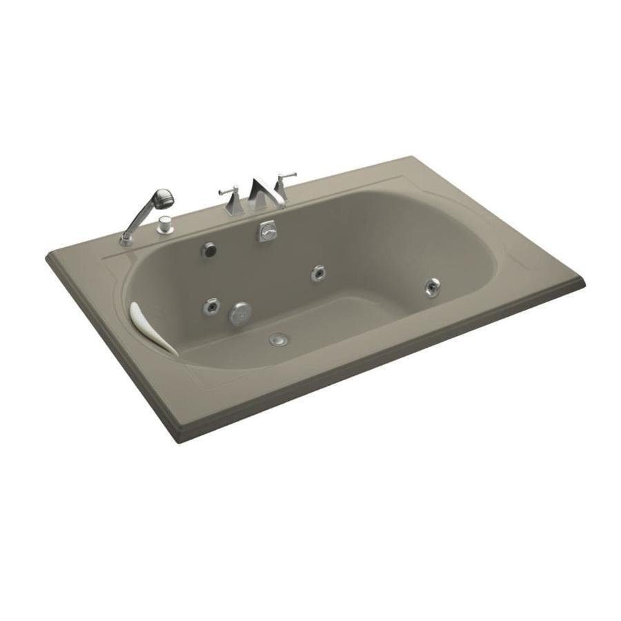 KOHLER Memoirs 66-in Sandbar Acrylic Drop-In Whirlpool Tub with Back Center Drain