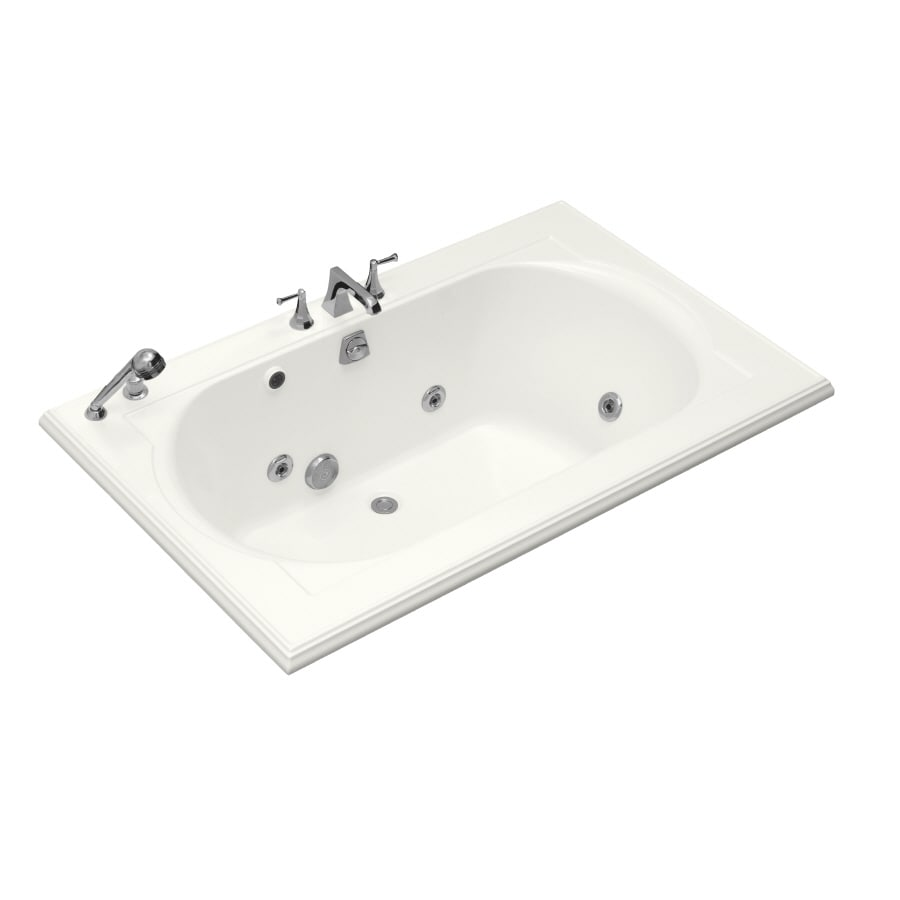 KOHLER Memoirs 66-in White Acrylic Drop-In Whirlpool Tub with Back Center Drain