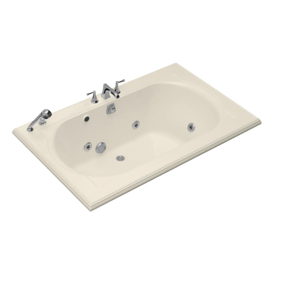 KOHLER Memoirs 66-in Almond Acrylic Drop-In Whirlpool Tub with Back Center Drain