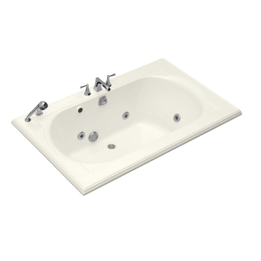 KOHLER Memoirs 66-in Biscuit Acrylic Drop-In Whirlpool Tub with Back Center Drain