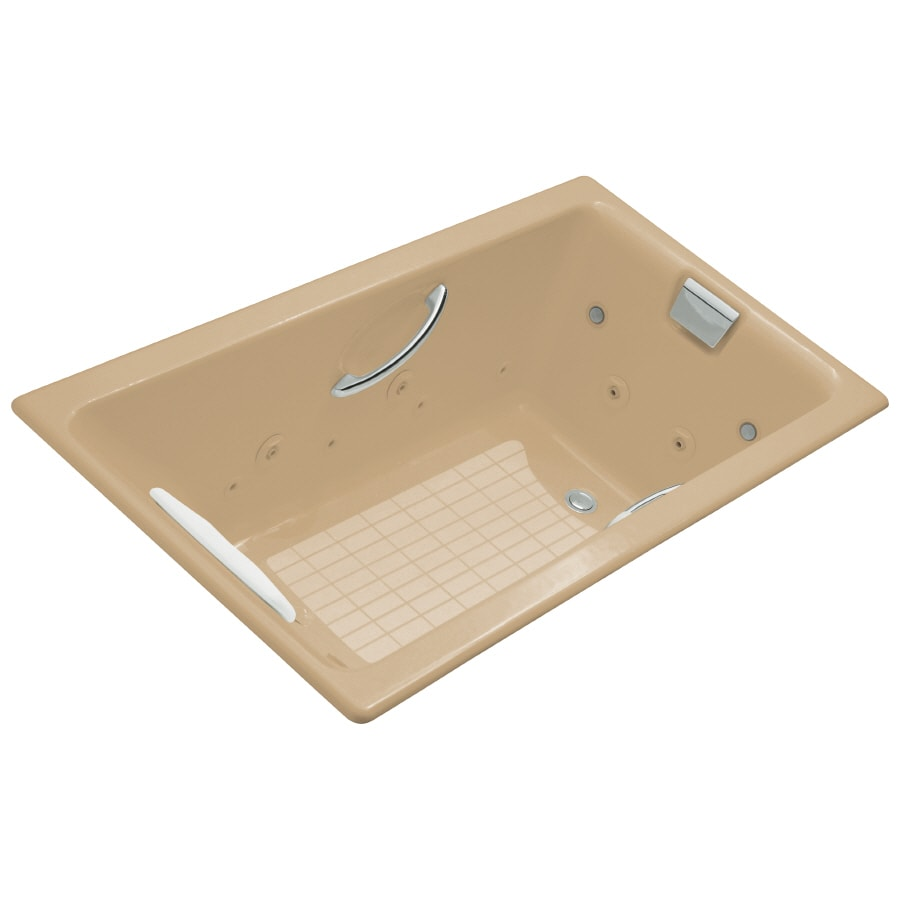 KOHLER Tea-For-Two 66-in Mexican Sand Cast Iron Drop-In Whirlpool Tub with Reversible Drain