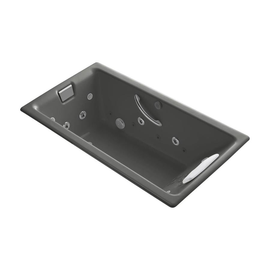 KOHLER Tea-For-Two Thunder Grey Cast Iron Rectangular Whirlpool Tub (Common: 36-in x 66-in; Actual: 24-in x 36-in x 66-in)