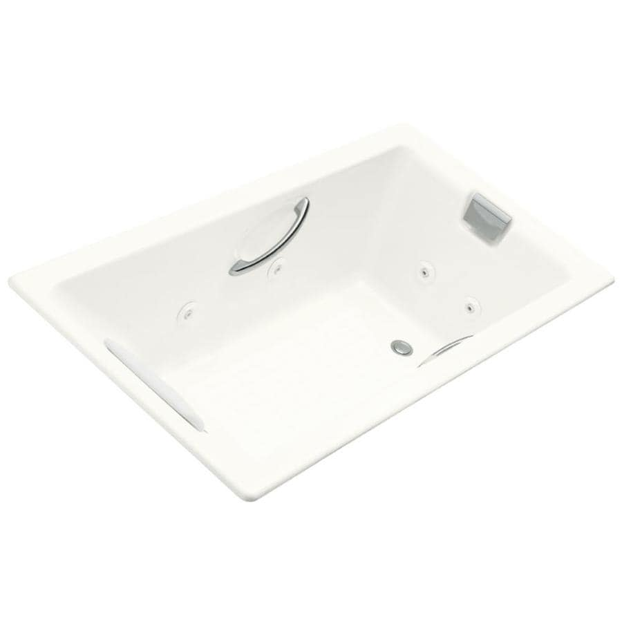 KOHLER Tea-For-Two 2-Person White Cast Iron Rectangular Whirlpool Tub (Common: 36-in x 66-in; Actual: 23-in x 36-in x 66-in)