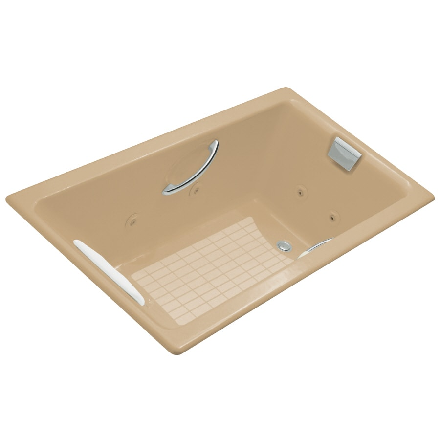 KOHLER Tea-For-Two 2-Person Mexican Sand Cast Iron Rectangular Whirlpool Tub (Common: 36-in x 66-in; Actual: 23-in x 36-in x 66-in)
