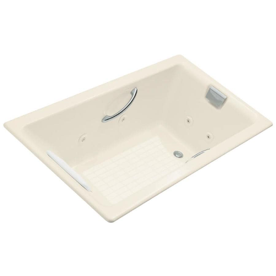 KOHLER Tea-For-Two 2-Person Almond Cast Iron Rectangular Whirlpool Tub (Common: 36-in x 66-in; Actual: 23-in x 36-in x 66-in)
