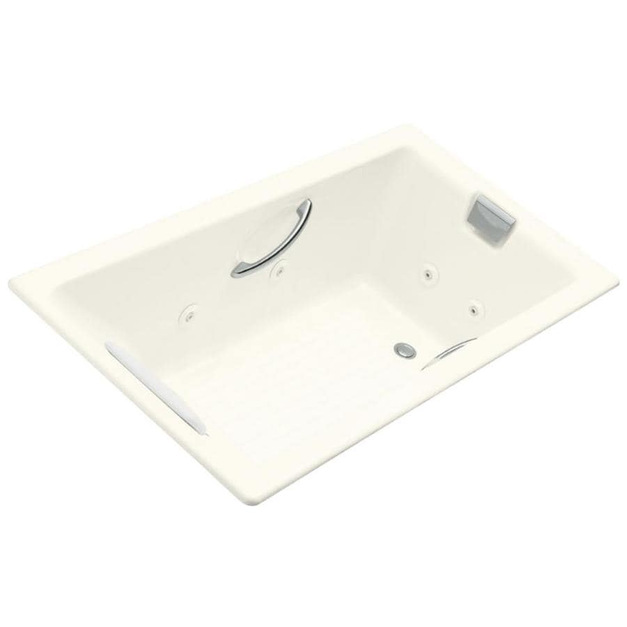 KOHLER Tea-For-Two 66-in Biscuit Cast Iron Drop-In Whirlpool Tub with Reversible Drain