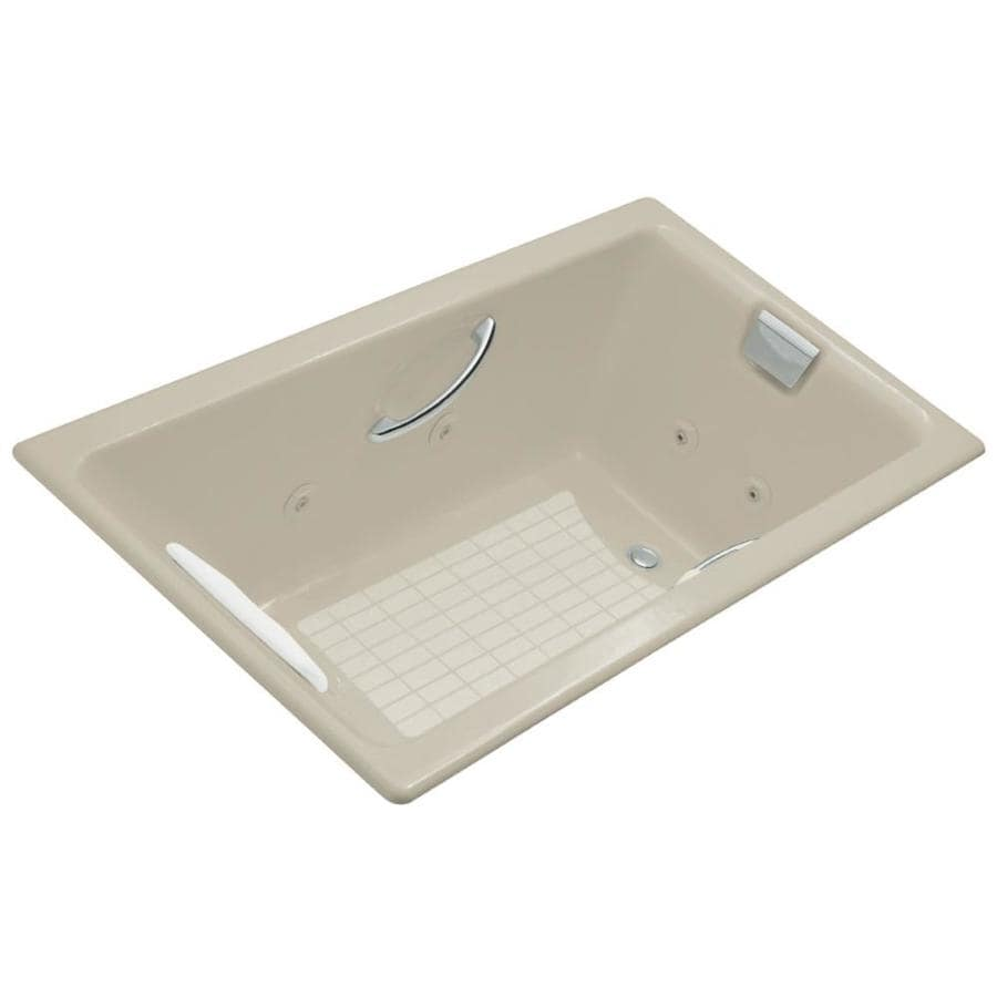 KOHLER Tea-For-Two 2-Person Sandbar Cast Iron Rectangular Whirlpool Tub (Common: 36-in x 66-in; Actual: 23-in x 36-in x 66-in)