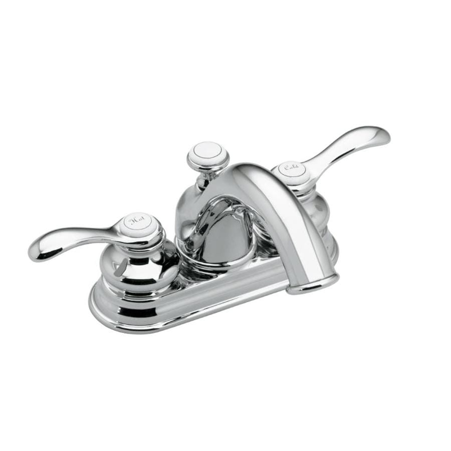 KOHLER Fairfax Polished Chrome 2-Handle 4-in Centerset WaterSense Bathroom Faucet (Drain Included)
