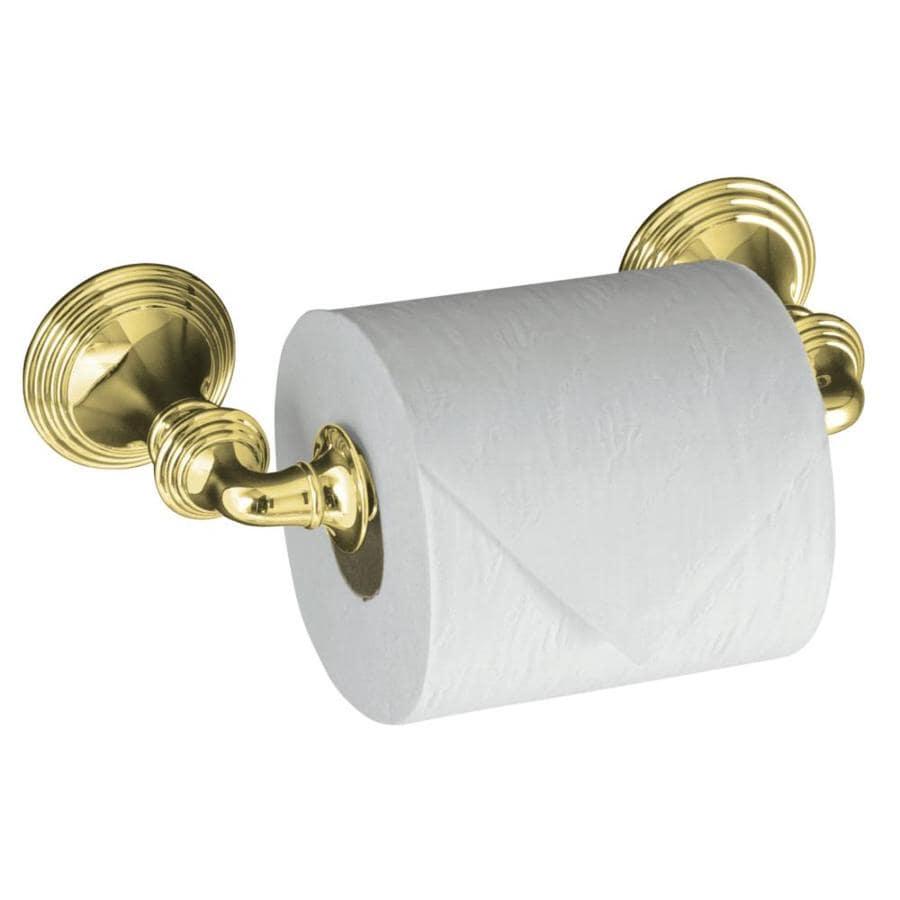 KOHLER Devonshire Vibrant Polished Brass Surface Mount Spring-Loaded Toilet Paper Holder