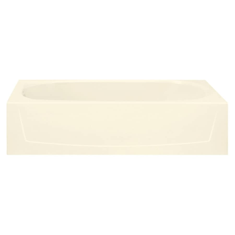 Sterling Performa Biscuit Fiberglass and Plastic Composite Oval In Rectangle Skirted Bathtub with Left-Hand Drain (Common: 29-in x 60-in; Actual: 17.25-in x 29-in x 60.25-in)
