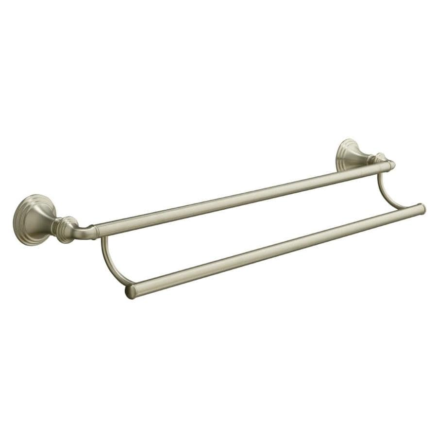 shop kohler devonshire vibrant brushed nickel double towel bar common