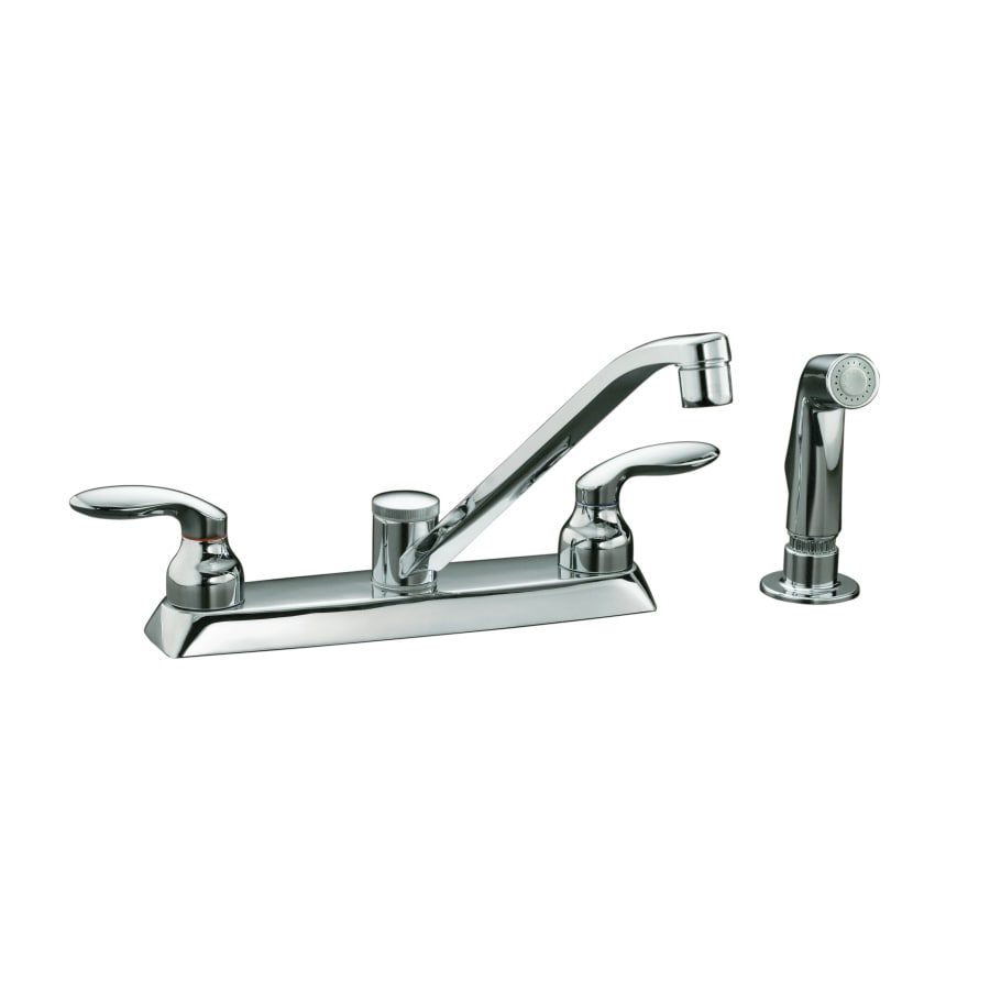 KOHLER Coralais Polished Chrome 2-Handle Low-Arc Kitchen Faucet