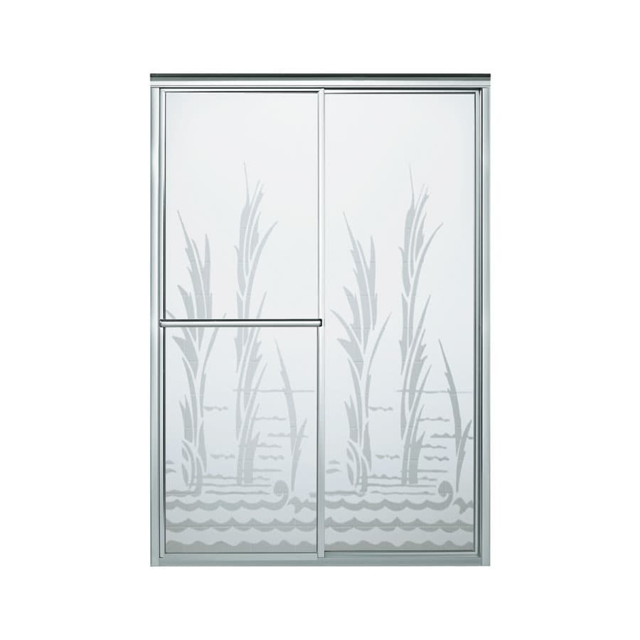 Sterling Deluxe 54.38-in to 59.375-in W x 70-in H Silver Sliding Shower Door