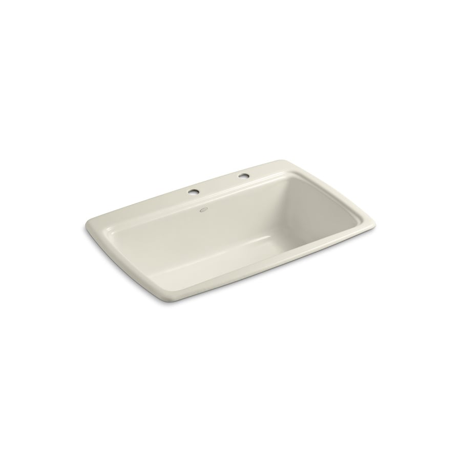 KOHLER Cape Dory 22-in x 33-in Almond Single-Basin Cast Iron Drop-in 2-Hole Residential Kitchen Sink