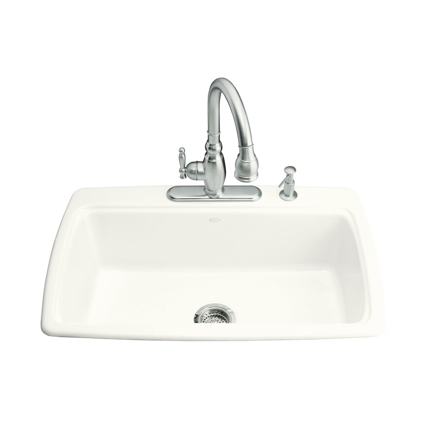 KOHLER Cape Dory 22-in x 33-in White Single-Basin-Basin Cast Iron Drop-in 3-Hole Residential Kitchen Sink